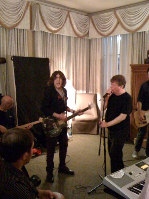 From Pat Collins: Roy & Cyril Rehearsing w the A-Bones at the hotel Thursday.