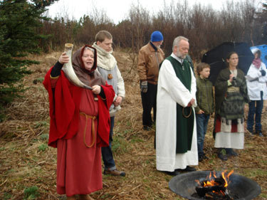 """Theblót(Old Norse neuter) refers toNorse pagansacrifice to theNorse godsand the spirits of the land. The sacrifice often took the form of asacramentalmeal or feast. Related religious practices were performed by otherGermanic peoples, such as thepagan Anglo-Saxons. The blót element ofhorse sacrificeis found throughoutIndo-Europeantraditions, including theVedic Indian,Celtic, andLatintraditions.  The verbblótameant """"to worship with sacrifice"""",[3]or """"to strengthen"""".[4]The sacrifice usually consisted ofanimals, in particularpigsandhorses. The meat was boiled in large cooking pits with heated stones, either indoors or outdoors. The blood was considered to contain special powers and it was sprinkled on the statues of the gods, on the walls and on the participants themselves. It was a sacred moment when the people gathered around the steaming cauldrons to have a meal together with the gods or the Elves. The drink that was passed around was blessed and sacred as well and it was passed from participant to participant. The drink was usuallybeerormeadbut among the nobility it could be importedwine. The old prayer wastil árs ok friðar, """"for a good year andfrith(peace)"""" They asked for fertility, good health, a good life and peace and harmony between the people and the powers.  Modern adherents of thereconstructionistreligionsTheodismandÁsatrúcontinue to practice the ritual of blót, which is one of the most important ritual observances of their religion, in addition tosymbel."""