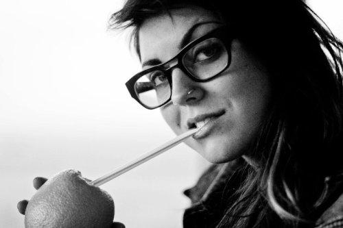 Sierra Kusterbeck with Nose Piercing/Ring, Eyeglasses