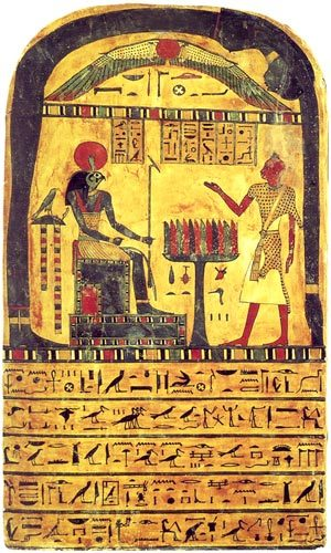 """chained-to-kosmos:  Stele of Revealing Top:Hadit, the great god, lord of the sky. Above left:Ra-Hoor-Khut, chief of the gods. Above right:The deceased, prophet of Mentu, lord of Thebes, the one for whom the doors of the sky are opened in Thebes, Ankh-f-n-khonsu. Under altar:bread, water, cattle and fowl. The deceased, the prophet of Mentu, lord of Thebes, Ankh-f-n-khonsu, true-of-voice, says: """"O sublime one! I adore the greatness of your spirits, o formidable soul, who inspires terror of himself among the gods. Appearing on his great throne, he travels the path of the soul, of the spirit, and of the body, having received the light, being equipped, I have made my path towards the place in which Ra, Tum, Khephra, and Hathor are; I, the deceased priest of Mentu, lord of Thebes, Ankh-f-n-khonsu, son of a person of the same rank, Bes-n-Maut, and of the priestess of Amoun-Ra, the mistress of the house Ta-Nech."""" The deceased, the prophet of Mentu, lord of Thebes, Ankh-f-n-khonsu, true-of-voice, says: """"O my heart of my mother, O heart which I had while I was on earth, do not rise up against me in witness, do not oppose me as a judge, do not charge me in the presence of the great god, lord of the West, because I have joined the land to the great West when I was flourishing on earth!"""" The deceased, priest of Thebes, Ankh-f-n-khonsu, true-of-voice, says: """"O, you who only has one arm, who shines in the moon, the deceased Ankh-f-n-khonsu has left the multitudes and rejoined those who are in the light, he has opened the dwelling-place of the stars (the Duaut); now then, the deceased Ankh-f-n-khonsu has gone forth by day in order to do everything that pleased him upon earth, among the living."""""""