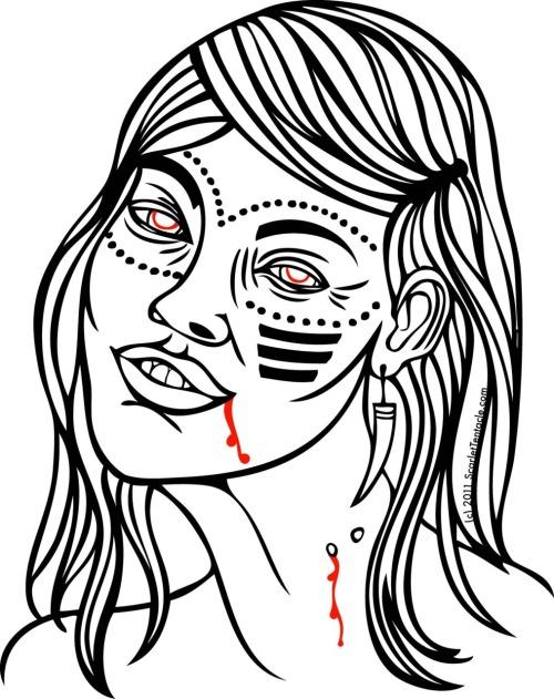 Scarlet Tentacle Illustration Vampire Woman