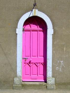 Hot pink neon door