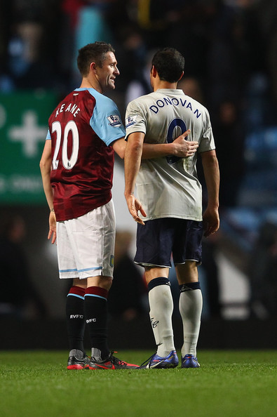 aston villa's robbie keane and everton's landon donovan