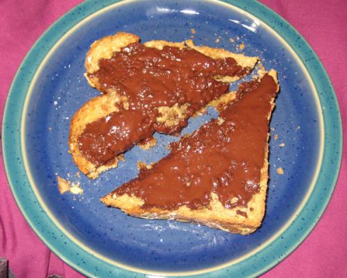 dark chocolate on toast