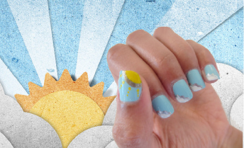 Follow our nail tutorial to get this cheerful blue sky/cloud manicure!
