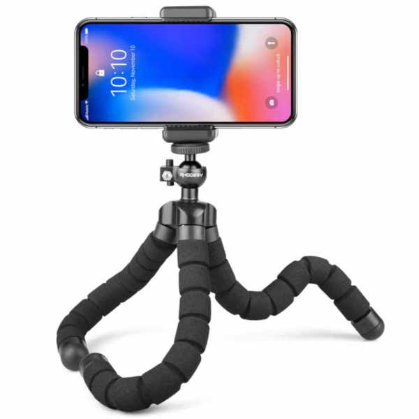Flexible Sponge Tripod with Phone Holder for Smartphone & Action Camera
