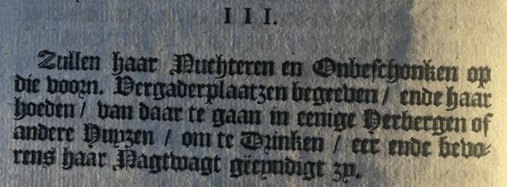 Artikel III uit het pamflet Instructies Klapperlieden