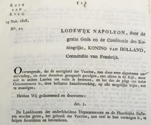 Koning Lodewijk Napoleon initieert een landelijke vaccinatie campagne