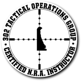 circular black and white 302 Tac ops logo with crossairs on delaware logo