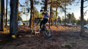 One athlete uses a ladder to warm up for the 2016 USA Cycling Hill Climb National Championships on Pikes Peak.