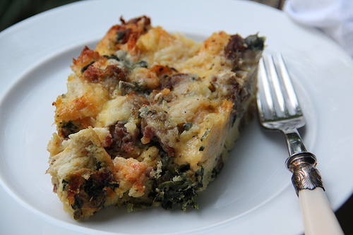 Sausage Cheddar Strata with Spinach