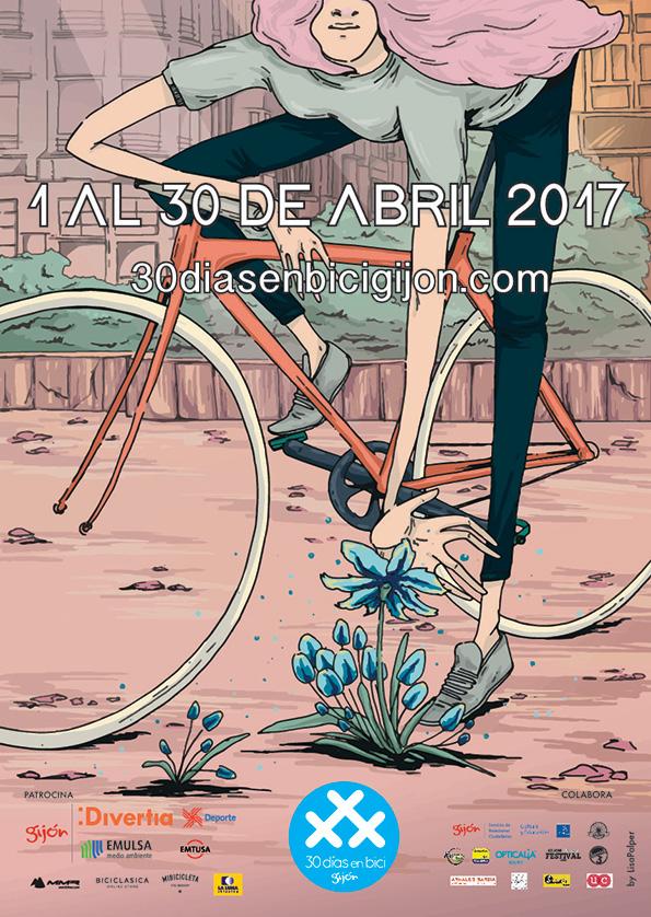 Cartel 2017 de Gijón - 30 Días en Bici