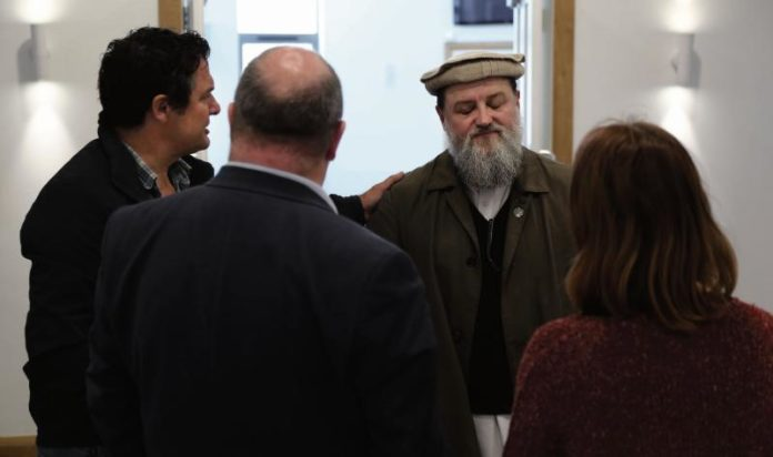 Imam Ibrahim Noonan meeting with Paul Freckling (left) and Natasha Muldoon of the ARD Resource Centre, and Senator Trevor Ó Clochartaigh, in the Maryam Mosque on the Old Monivea Road.
