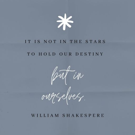 It is not in the stars to hold our destiny but in ourselves. William Shakespeare  20 powerful quotes