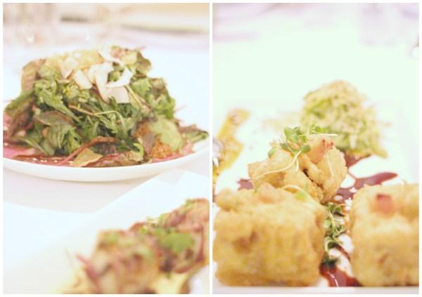 left Thai beef salad, right marinated crispy tofu