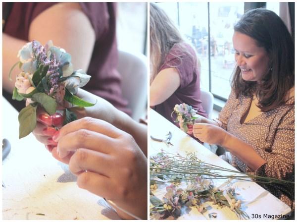 Louise making a wreath