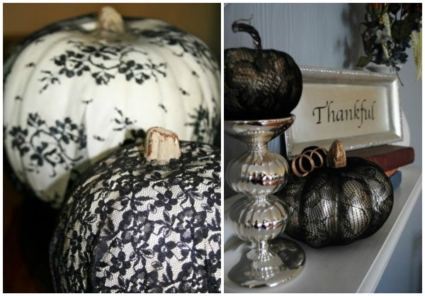 pumpkins with lace