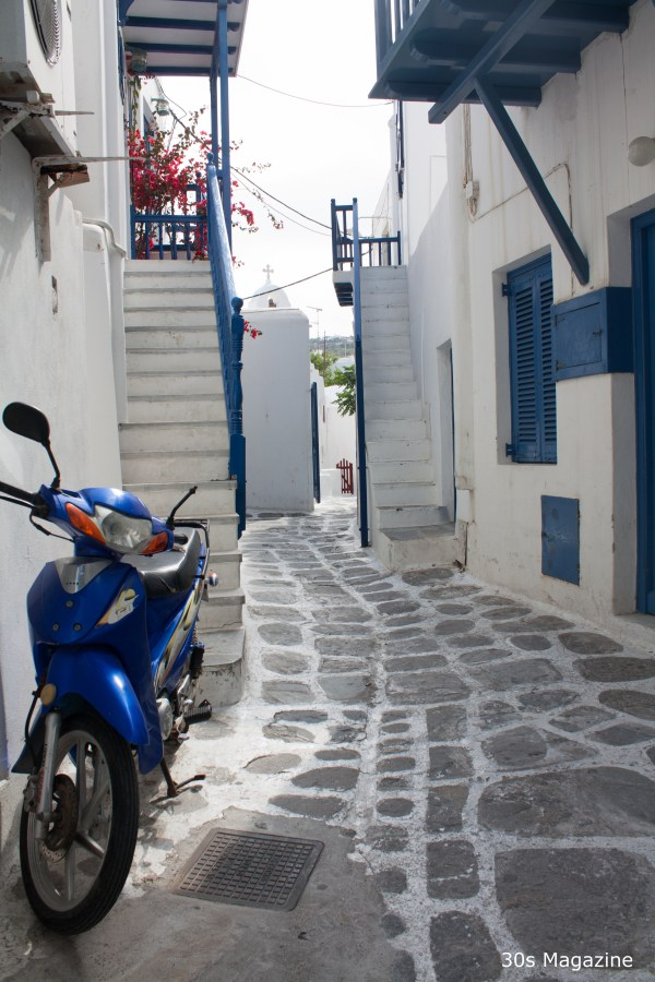 blue white mykonos