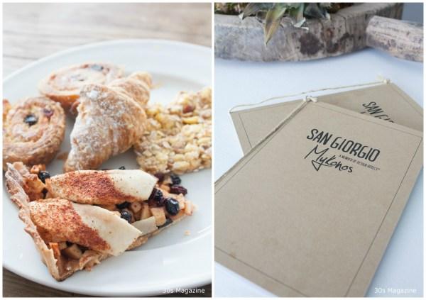 breakfast menu San Giorgio Mykonos