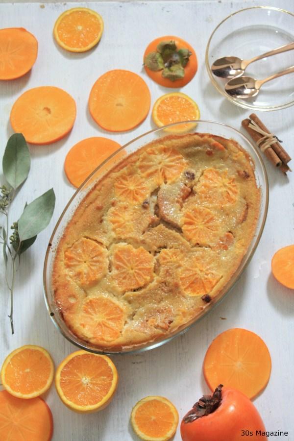 orange-persimmon clafoutis