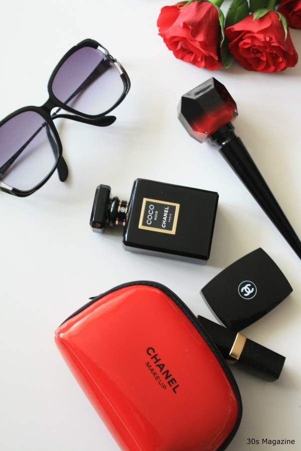 chanel flat lay red and black