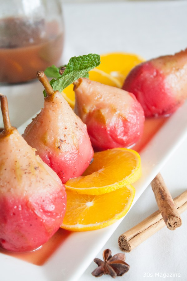 ombre poached pears