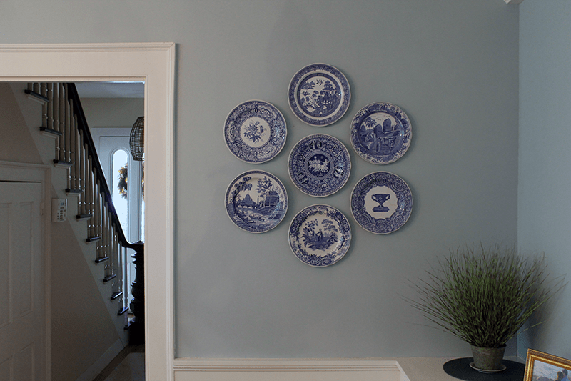 Spode-Plate-Hanging-Accent-Wall & The Easiest Way to Hang Decorative Plates on Your Wall - Thirty ...