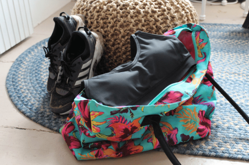 packed workout bag