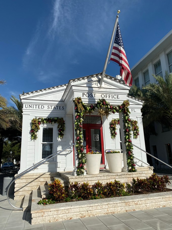 Seaside Florida Post Office Decked in Christmas Cheer
