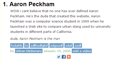 Urban Dictionary definition for Aaron Peckham