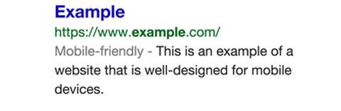 Mensaje de Google que dice que una página web está amigable para el SEO móvil