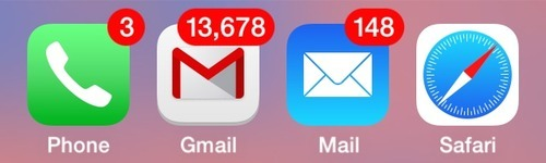 screenshot of iphone, iphone showing over thirteen thousand unopened emails in someone's gmail account, iphone showing 148 unopened emails in regular mail