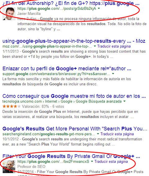 entadas de Google+ en los resultados de búsqueda de Google