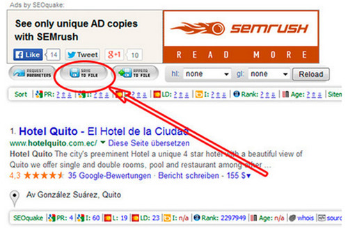 descargar los resultados de búsqueda de Google con SEOQuake