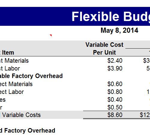 Flexible Budget Example Excel -