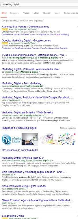 búsqueda por marketing digital en Google