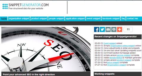 Con el Snippetgenerater puedes crear rich snippets para personas, organizaciones, productos y eventos
