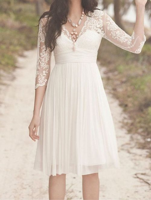 Custom Made Vintage Long Sleeves Wedding Dress,Short Lace Bridal Gown…