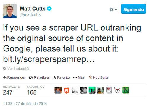 Matt cutts informando sobre la nueva herramienta de Google para luchar contra contenido duplicado