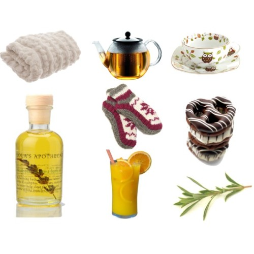 "Sick Day<br /> Faux fur bedding / Pier 1 Imports porcelain tea cup / Bodum tea press / Edward Marc Gourmet Chocolate Pretzels / ReLuxe patterned hosiery / Lola s Apothecary body cleanser</p> <p>An Apple a Day …. keeps the doctor away ….<br /> I, on the other hand, haven't been eating any apples lately but I have been eating much better than I usually do. I actually haven't eaten this well since I was living at home with my mom (a health food junkie). It's discouraging then to see how sick I've been the past few months. I have a ""special needs"" immune system. I am very aware of that and I am always taking precautions to ensure that nothing sets it off. 1.)Using my own pens instead of office pens2.) Clorox wipes and Lysol wipes in every nook and cranny of my house3.) sanitizing after I shake hands (it's not that I skeave you)4.) using the handicapped accessible doors to avoid handles (it's not because I'm lazy) 5.) vitamins (up to 1000mg of C a day)But what happens when  those precautions are muffled by the greatest cause of infections of all - life? What happens when life and the stress of daily events get in the way? That's when it appears that I always get sick. It always seems to start with a flare. An ache in the hip. A sob from my shoulder. A shout from my knee. An all consuming exhaustion. Next, a teeny scratch in my throat.  <br /> ""I'm getting sick."" - I say to Nick.<br /> ""You're always getting sick"" he replies.<br /> ""I'm getting sick."" - I say to my mom.<br /> ""You're always saying that"" my mom says curtly.</p> <p>But without fail … no matter how many times they tell me I'm wrong … I end up canceling the tutoring, putting in for the sub, purchasing $100 worth of cold supplies … and giving in to the inevitable fate that awaits me - on the couch.<br /> ""Oh you are sick!"" they say.<br /> Yep. This is one sick chick.<br />"