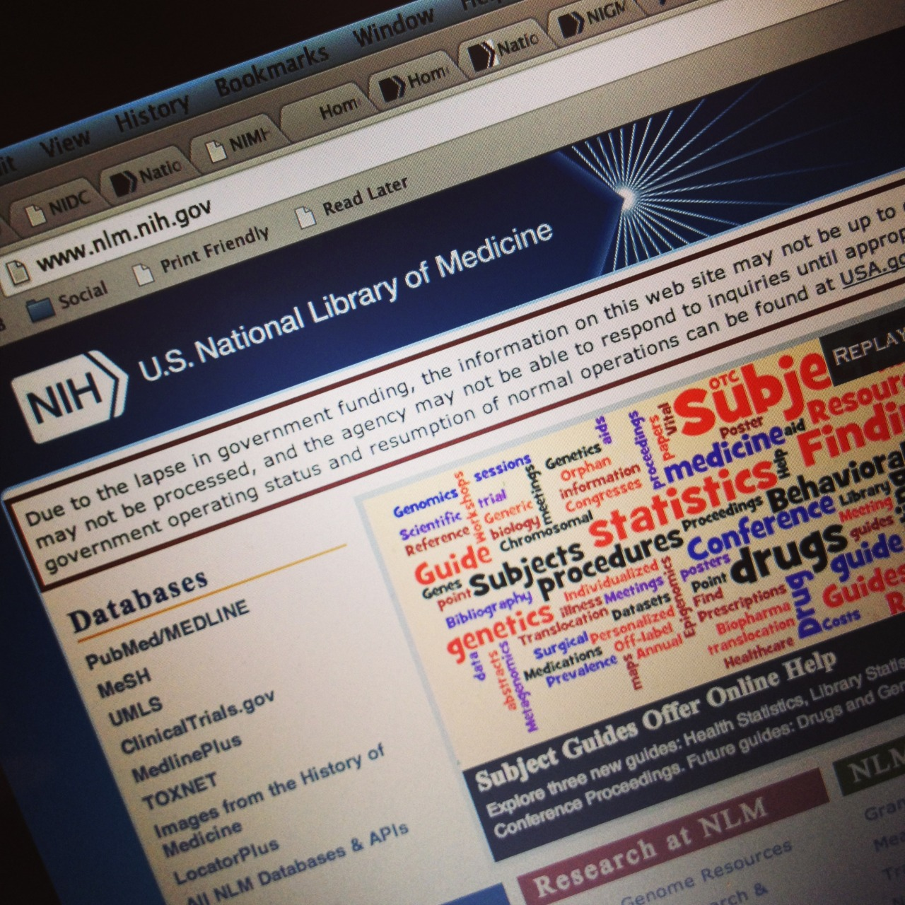 NLM National Library of Medicine home page government shutdown
