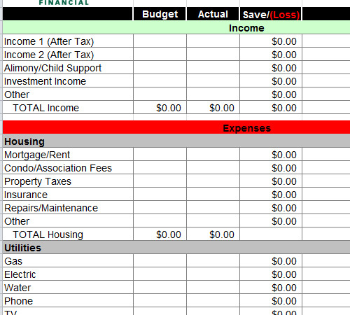 Sample Personal Budget Example Sheet