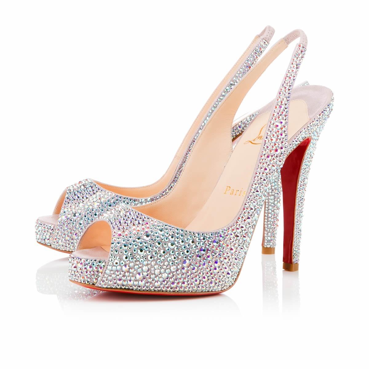 Christian Louboutin heels white glitter platform peep toe slingback
