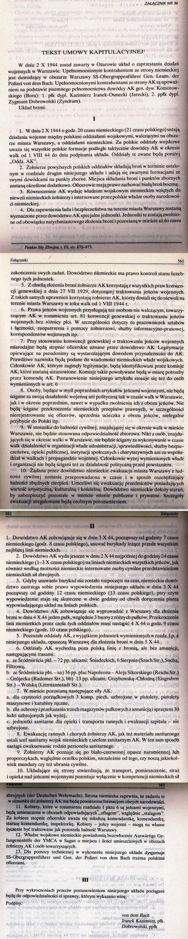 Skan układu o zaprzestaniu działań wojennych w Warszawie z dnia 2.10.1944