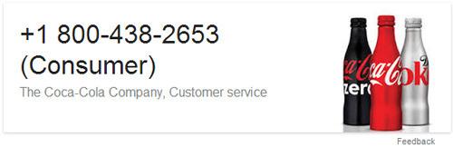 ejemplo para dato estructurados en los resultados de búsqueda: información de contacto de una empresa