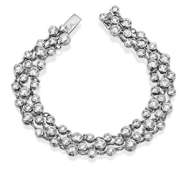 Simon G bezel set diamond row bracelet