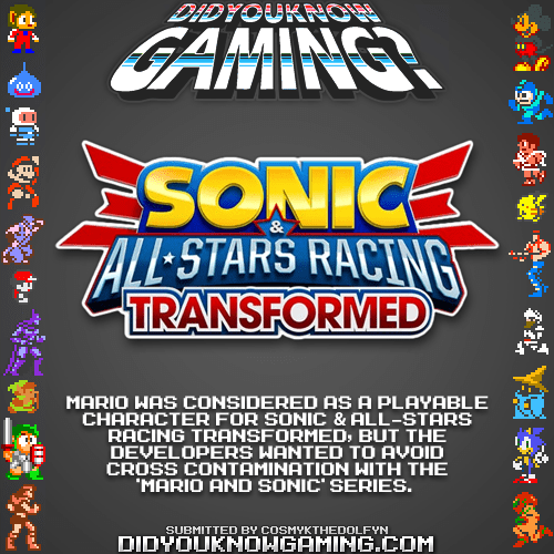 didyouknowgaming:</p> <p>Sonic & All-Stars Racing Transformed, Mario.</p> <p>http://gonintendo.com/?p=115154