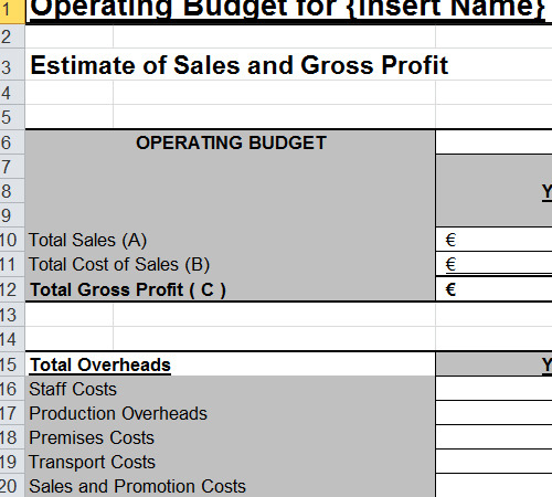 Operating Budget Template For Small Business – Operating Budget Template