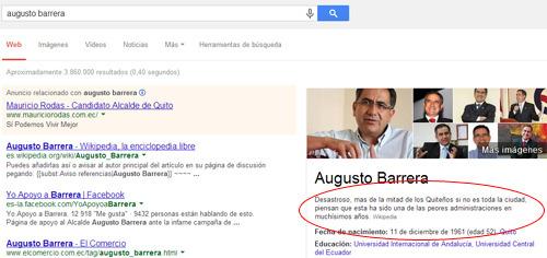 Augusto Barrera en Wikipedia - artículo negativo