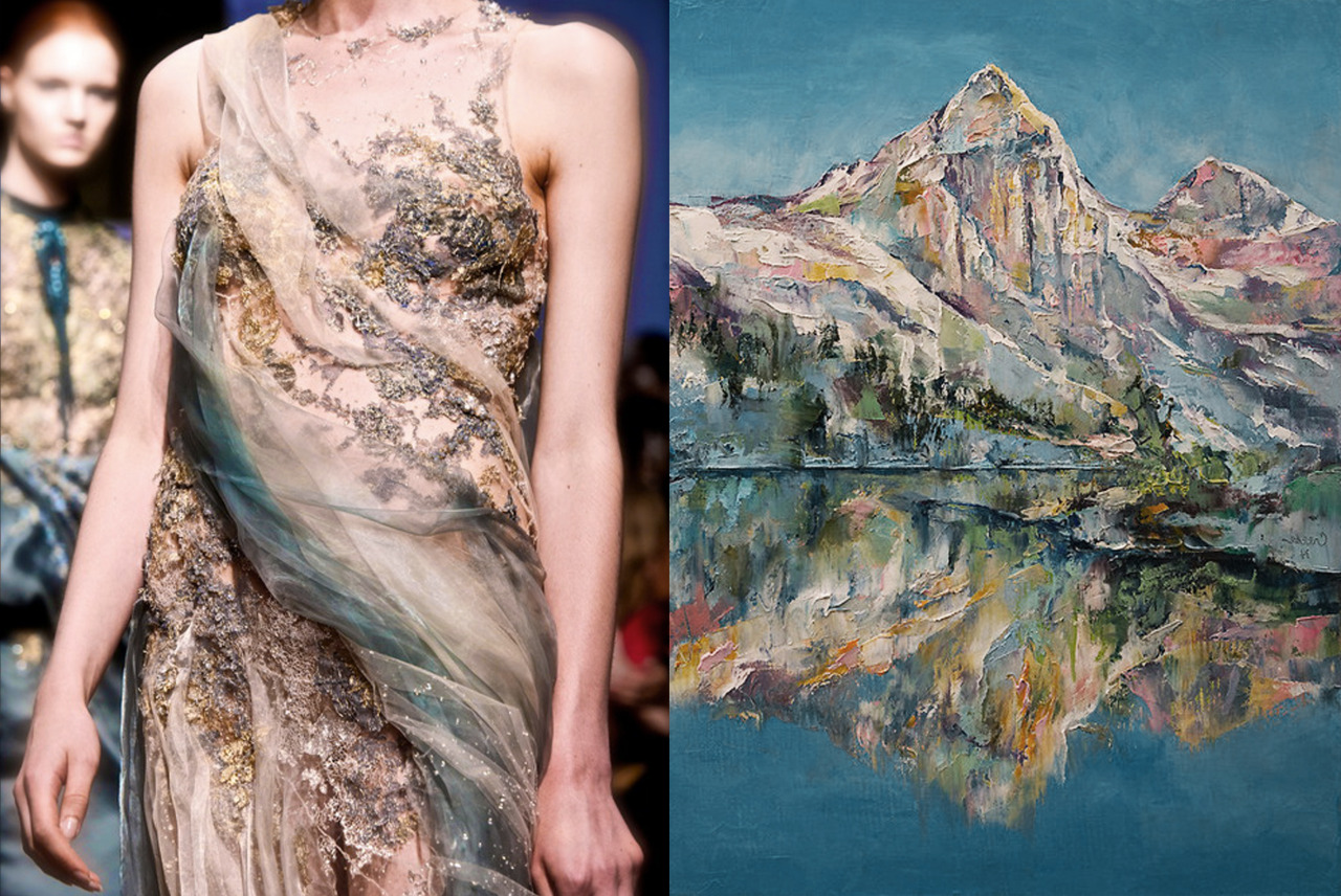 Match #130<br /> Yiqing Yin Haute Couture Fall 2013 | Mountain Lake by Michael Creese, 2014<br /> More matches here